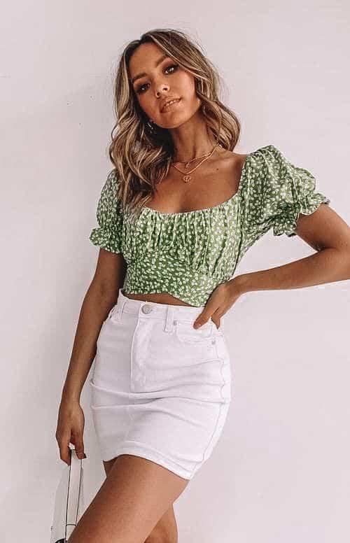crop top, crop top outfit, crop top pattern, crop top outfit ideas, crop top fashion, floral crop top, green crop top
