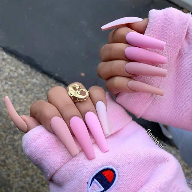pink nails, pink nail art, pink nail designs, pink nail ideas, ombre nails, ombre matte nails, pink nails acrylic, pink nail polish, spring nails