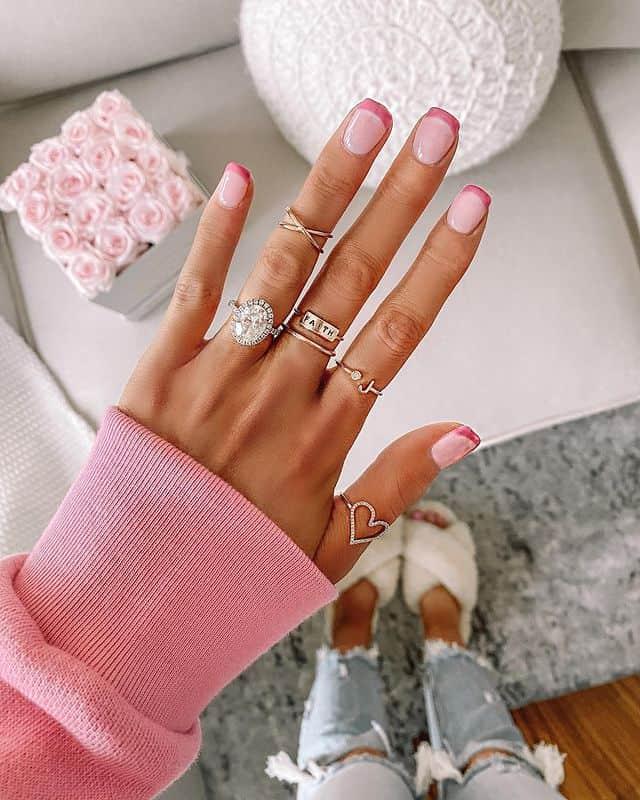 pink nails, pink nail art, pink nail designs, pink nail ideas, pink nails acrylic, pink nail polish, spring nails, French tips