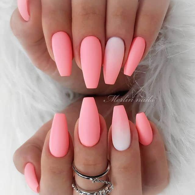 pink nails, pink nail art, pink nail designs, pink nail ideas, pink nails acrylic, pink nail polish, spring nails, neon nail art, matte nails, pink matte nails