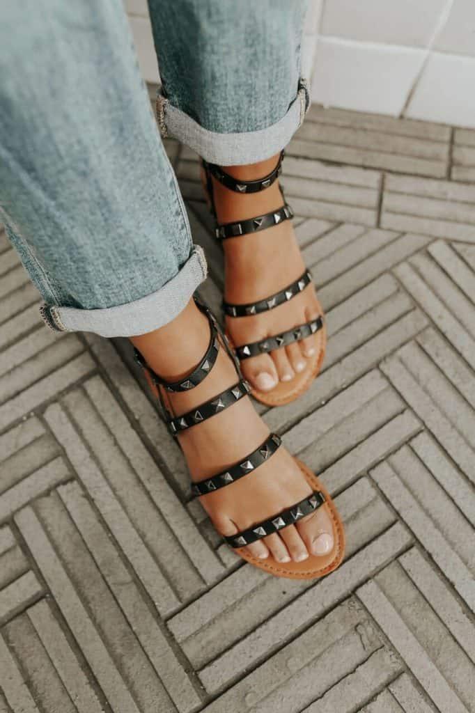 spring sandals, sandals, waffle sandals, spring sandals 2021, spring sandals flats, black sandals, rock studded sandals, black rock studded sandals