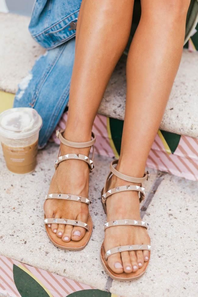 spring sandals, sandals, waffle sandals, spring sandals 2021, spring sandals flats, studded sandals, rock stud sandals, nude sandals