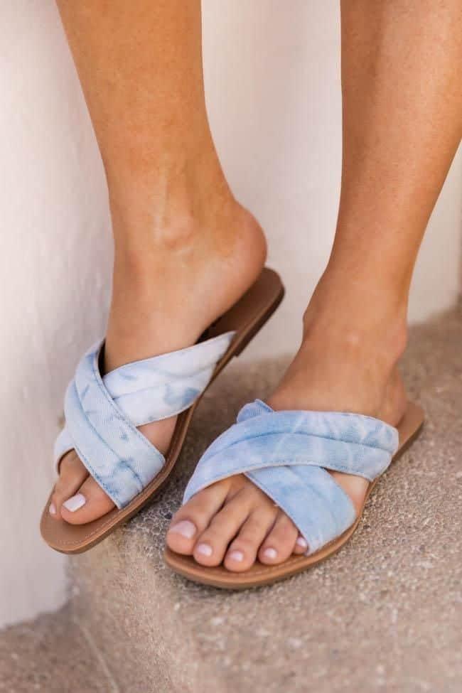 spring sandals, sandals, waffle sandals, spring sandals 2021, spring sandals flats, tie dye sandals, blue sandals, cross sandals