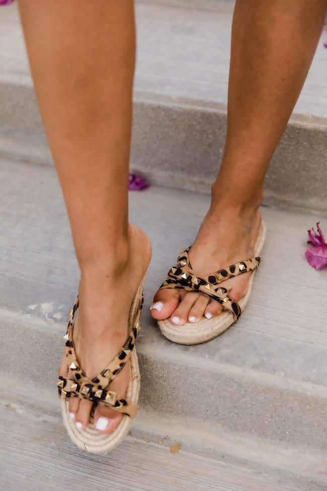 spring sandals, sandals, waffle sandals, spring sandals 2021, spring sandals flats, leopard sandals, leopard studded sandals