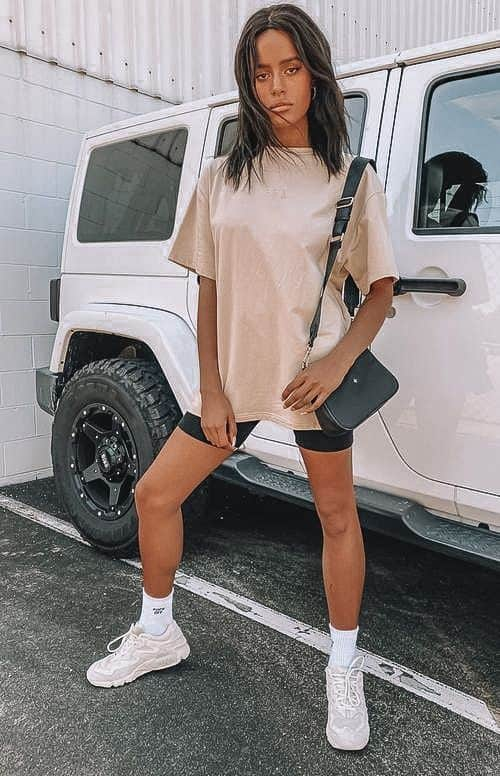biker shorts, biker shorts outfit, biker shorts outfit summer, biker shorts outfit baddie, biker shorts street style, casual outfit women