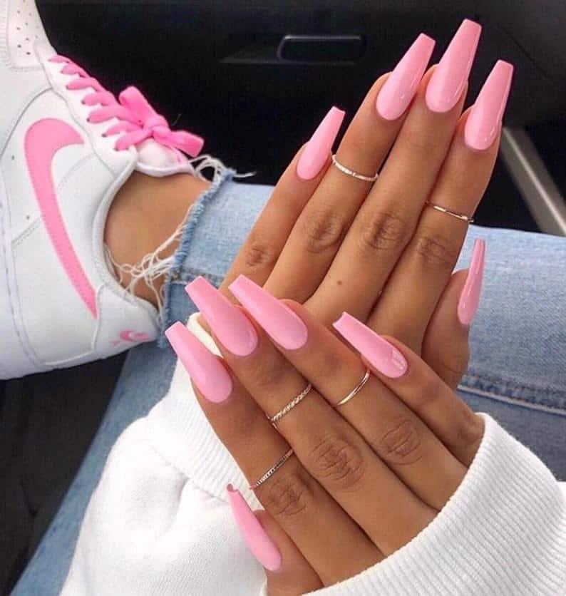 pink nails, pink nail art, pink nail designs, pink nail ideas, pink nails acrylic, pink nail polish, spring nails, baby pink nails