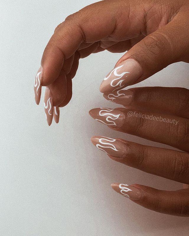 white nails, white nail ideas, white nail designs, white nails acrylic, whit nails with designs, white nail ideas acrylic, white nail polish, flame nails, flame nail designs