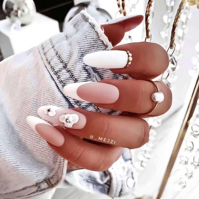 white nails, white nail ideas, white nail designs, white nails acrylic, whit nails with designs, white nail ideas acrylic, white nail polish, floral nails, floral nail designs