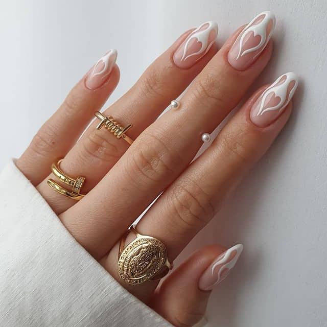 white nails, white nail ideas, white nail designs, white nails acrylic, whit nails with designs, white nail ideas acrylic, white nail polish, flame nails