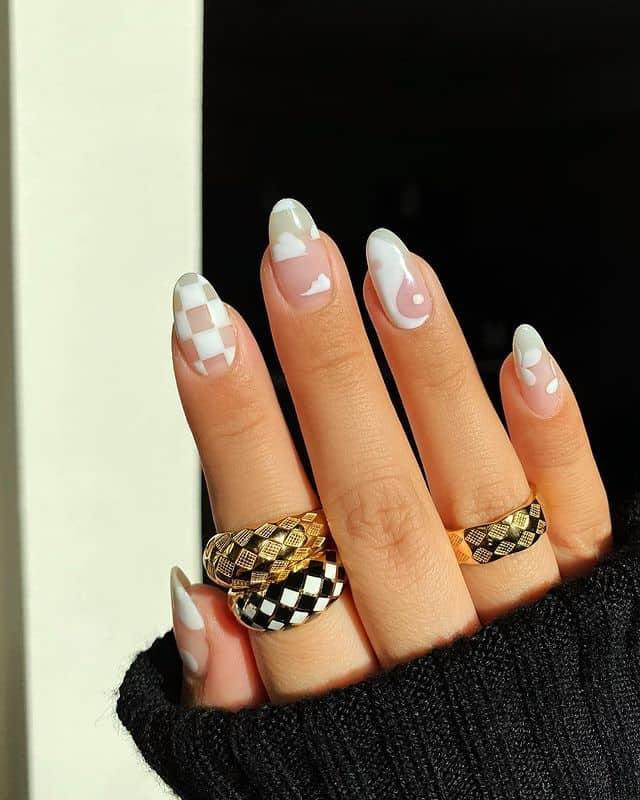 white nails, white nail ideas, white nail designs, white nails acrylic, whit nails with designs, white nail ideas acrylic, white nail polish, indie nails, indie nail designs