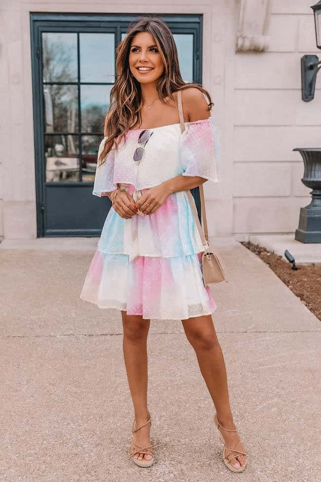 summer outfit, summer dresses, summer dress, summer dress outfits, summer dresses for women, summer dresses 2021, summer dresses for women, summer outfit inspiration, summer outfits 2021, rainbow dress, rainbow dress outfit