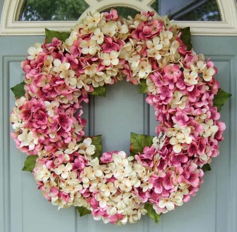 summer wreath, summer wreath ideas, summer wreath DIY, summer wreaths for front door, floral wreath, wreaths for front door, wreath ideas, hydrangea wreath, pink wreath