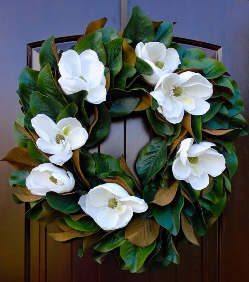 summer wreath, summer wreath ideas, summer wreath DIY, summer wreaths for front door, floral wreath, wreaths for front door, wreath ideas, magnolia wreath, white magnolia wreath