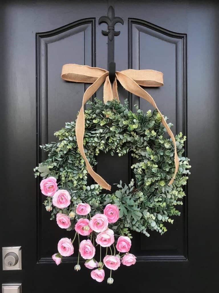 summer wreath, summer wreath ideas, summer wreath DIY, summer wreaths for front door, floral wreath, wreaths for front door, wreath ideas, green wreath , pink wreath
