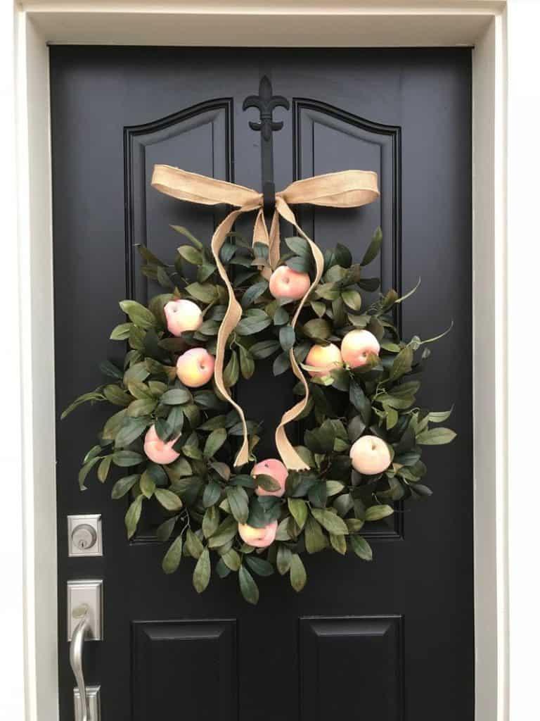 summer wreath, summer wreath ideas, summer wreath DIY, summer wreaths for front door, floral wreath, wreaths for front door, wreath ideas, peach wreath, fruit wreath