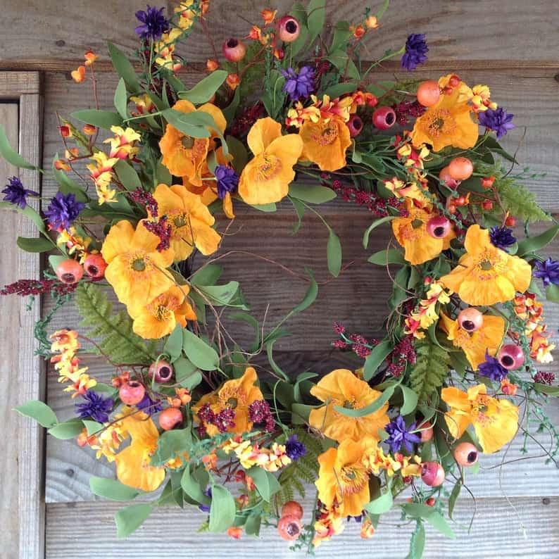 summer wreath, summer wreath ideas, summer wreath DIY, summer wreaths for front door, floral wreath, wreaths for front door, wreath ideas, orange floral wreath