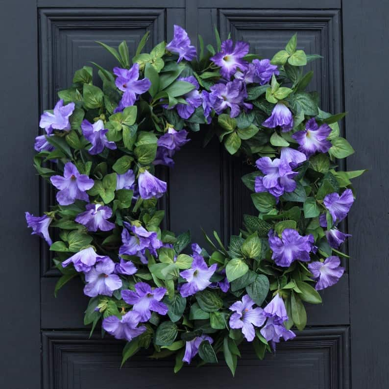 summer wreath, summer wreath ideas, summer wreath DIY, summer wreaths for front door, floral wreath, wreaths for front door, wreath ideas, petunia wreath, purple wreath
