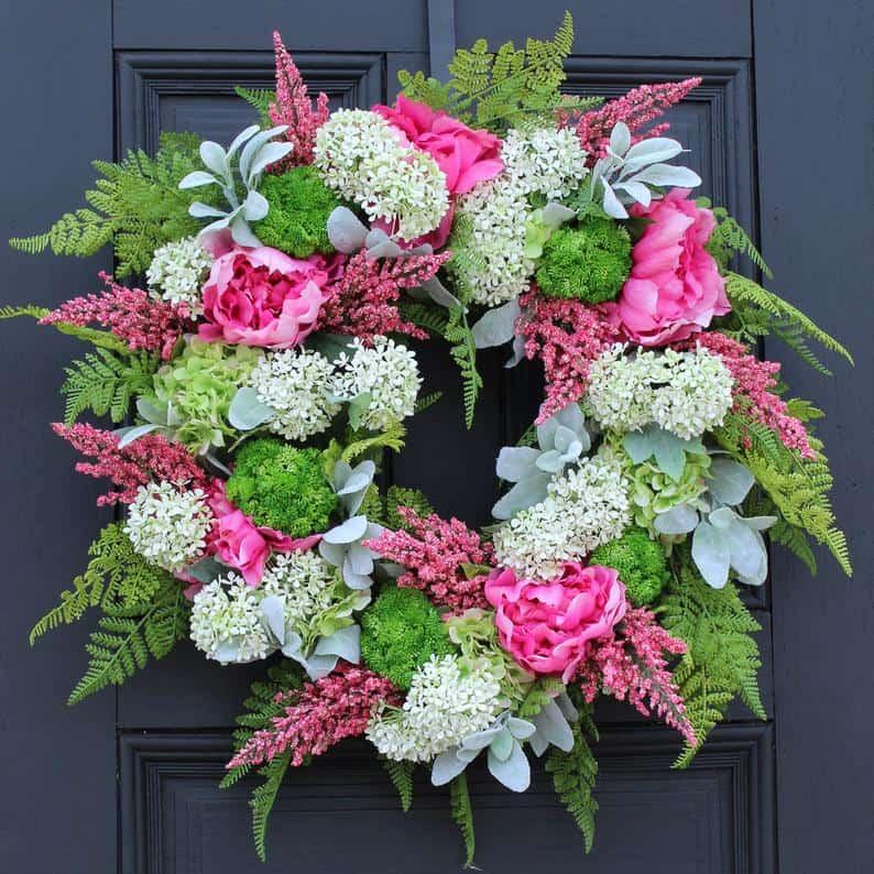 summer wreath, summer wreath ideas, summer wreath DIY, summer wreaths for front door, floral wreath, wreaths for front door, wreath ideas, pink wreath