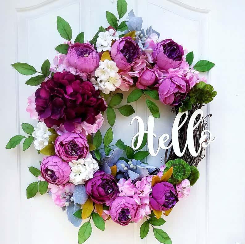 summer wreath, summer wreath ideas, summer wreath DIY, summer wreaths for front door, floral wreath, wreaths for front door, wreath ideas, purple wreath, hello wreath