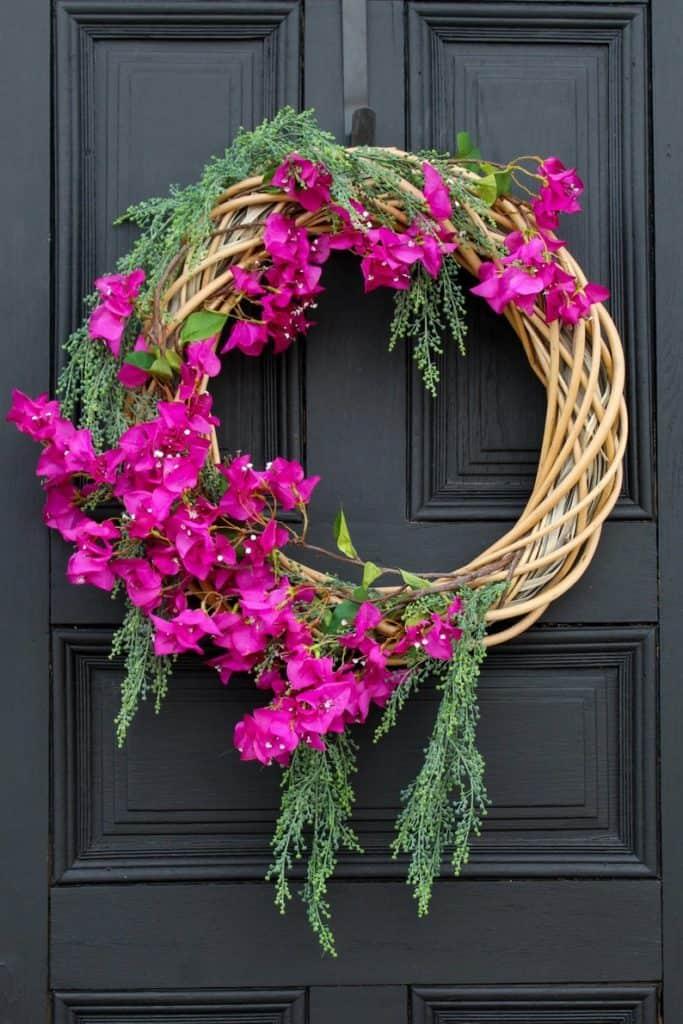 summer wreath, summer wreath ideas, summer wreath DIY, summer wreaths for front door, floral wreath, wreaths for front door, wreath ideas, pink floral wreath