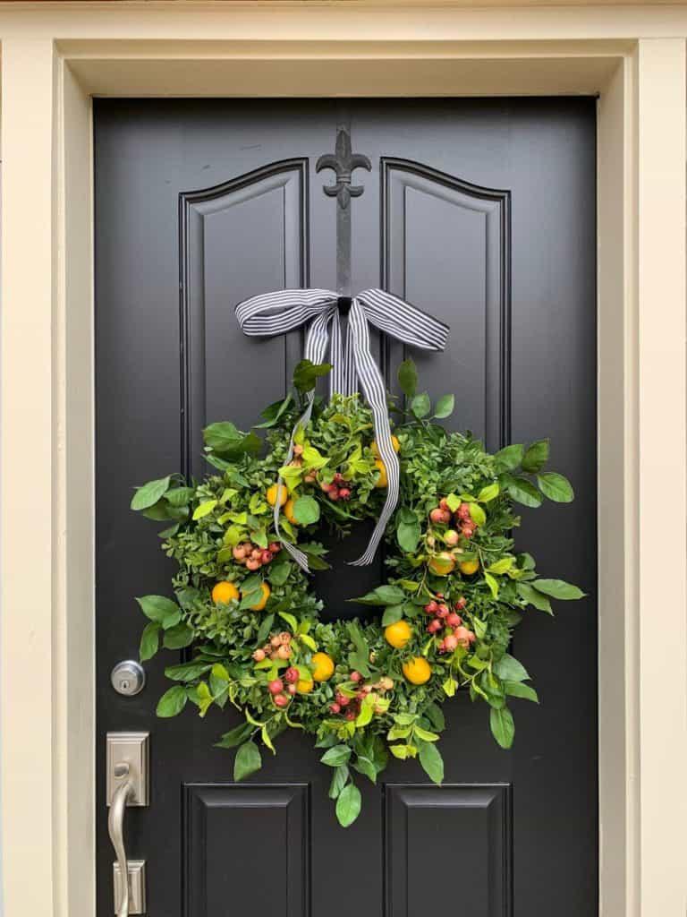 summer wreath, summer wreath ideas, summer wreath DIY, summer wreaths for front door, floral wreath, wreaths for front door, wreath ideas,, fruit wreath, orange wreath