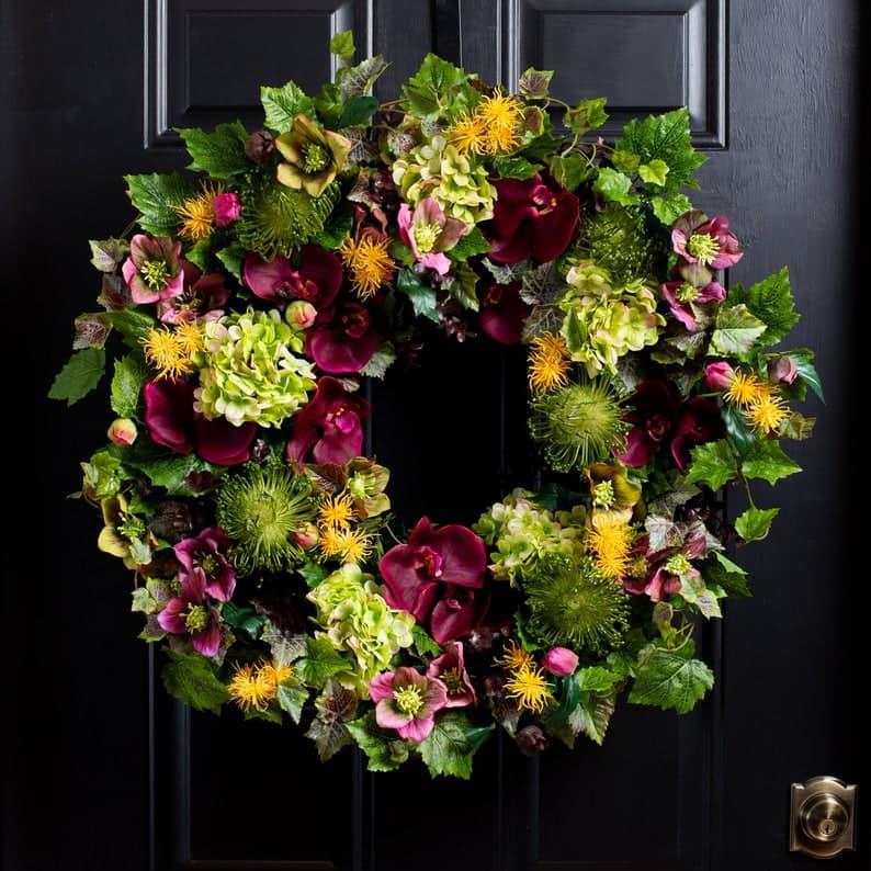 summer wreath, summer wreath ideas, summer wreath DIY, summer wreaths for front door, floral wreath, wreaths for front door, wreath ideas, orchid wreath