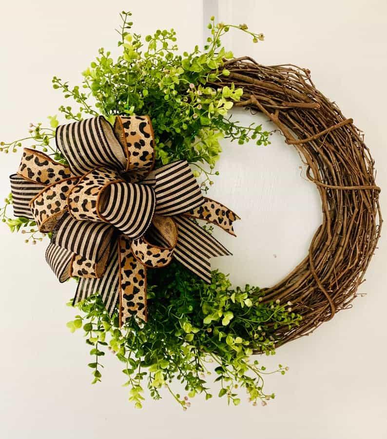 summer wreath, summer wreath ideas, summer wreath DIY, summer wreaths for front door, floral wreath, wreaths for front door, wreath ideas, leopard wreath, grapevine wreath