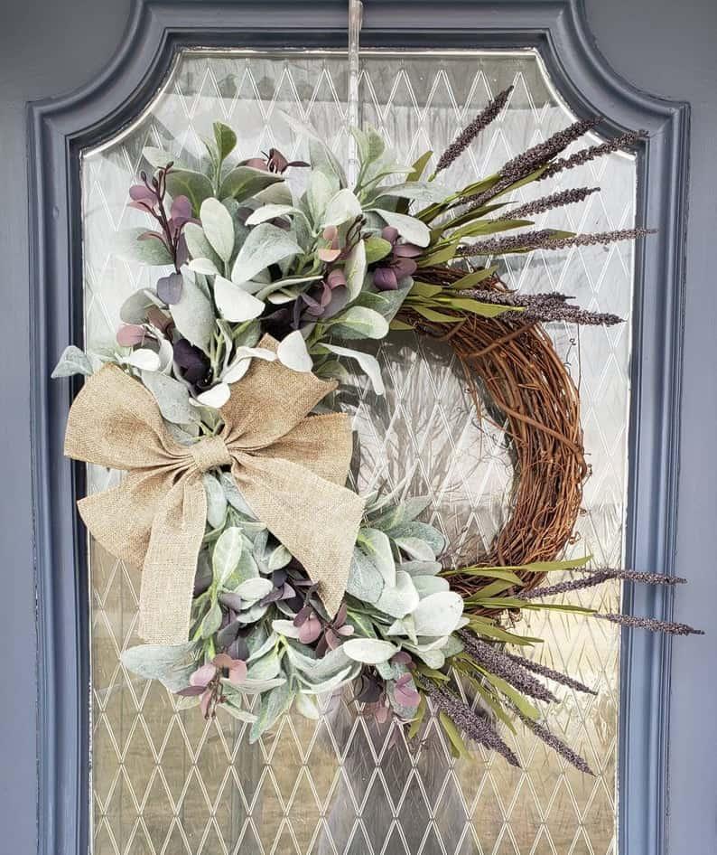 summer wreath, summer wreath ideas, summer wreath DIY, summer wreaths for front door, floral wreath, wreaths for front door, wreath ideas, lamb ear wreath