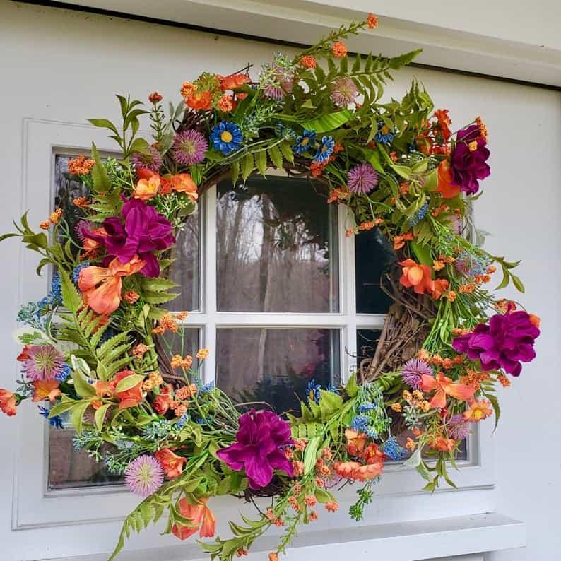 summer wreath, summer wreath ideas, summer wreath DIY, summer wreaths for front door, floral wreath, wreaths for front door, wreath ideas, bright floral wreath