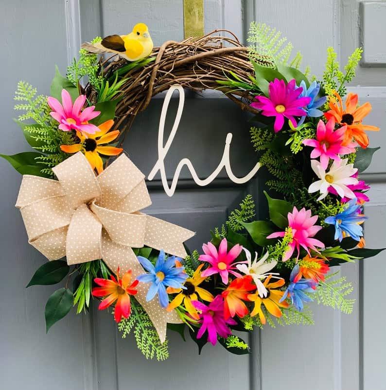 summer wreath, summer wreath ideas, summer wreath DIY, summer wreaths for front door, floral wreath, wreaths for front door, wreath ideas, colourful wreath