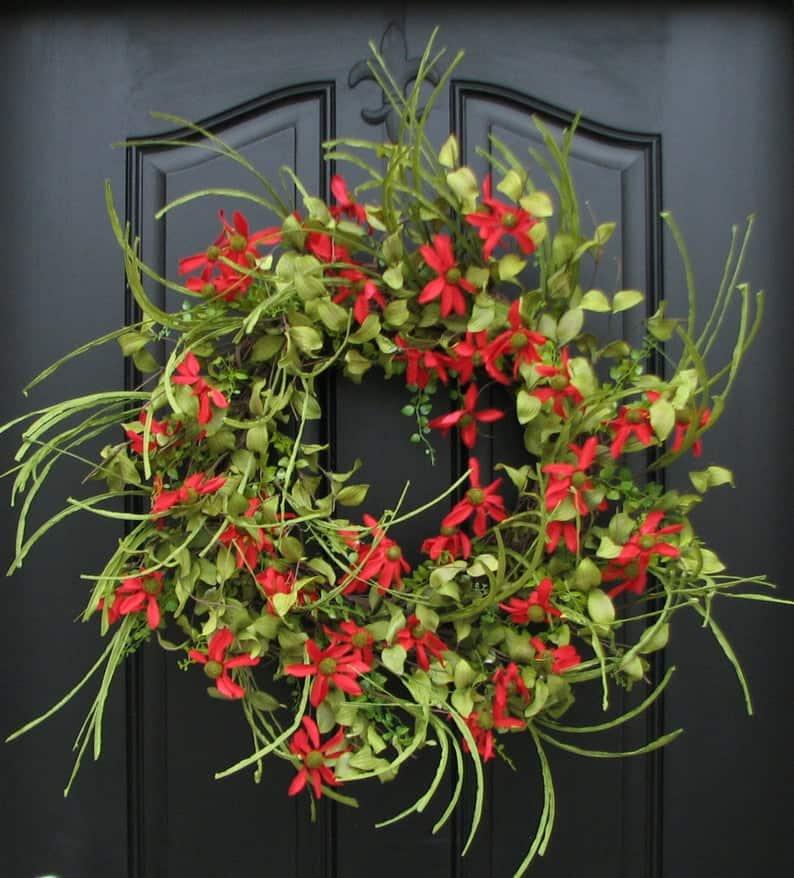 summer wreath, summer wreath ideas, summer wreath DIY, summer wreaths for front door, floral wreath, wreaths for front door, wreath ideas, red floral wreath