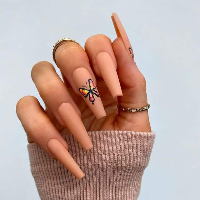 butterfly nails, butterfly nails acrylics, butterfly nails coffin, butterfly nail art, butterfly nail ideas, butterfly nail designs, neutral nails, rainbow butterfly nails