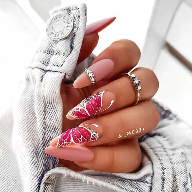 butterfly nails, butterfly nails acrylics, butterfly nails coffin, butterfly nail art, butterfly nail ideas, butterfly nail designs, neutral nails, rainbow butterfly nails, pink nail art, summer nails