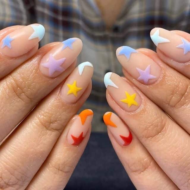rainbow nails, rainbow nail art, rainbow nails acrylic, rainbow nails design, rainbow nail art designs, rainbow nail tips, star nails, star nail art