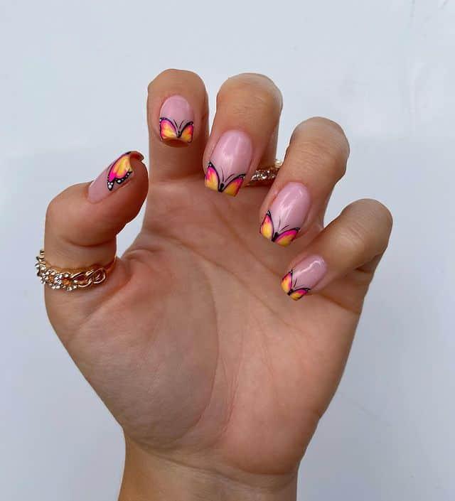 butterfly nails, butterfly nails acrylics, butterfly nails coffin, butterfly nail art, butterfly nail ideas, butterfly nail designs, neutral nails, rainbow butterfly nails, pink butterfly nails, pink nail art, summer nails, French tip nails