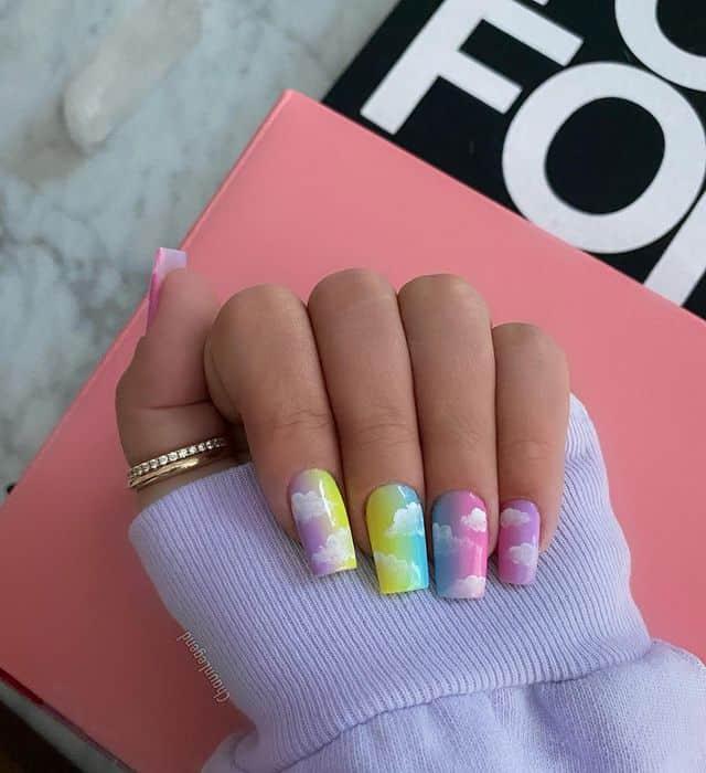 rainbow nails, rainbow nail art, rainbow nails acrylic, rainbow nails design, rainbow nail art designs, rainbow nail tips, cloud nails