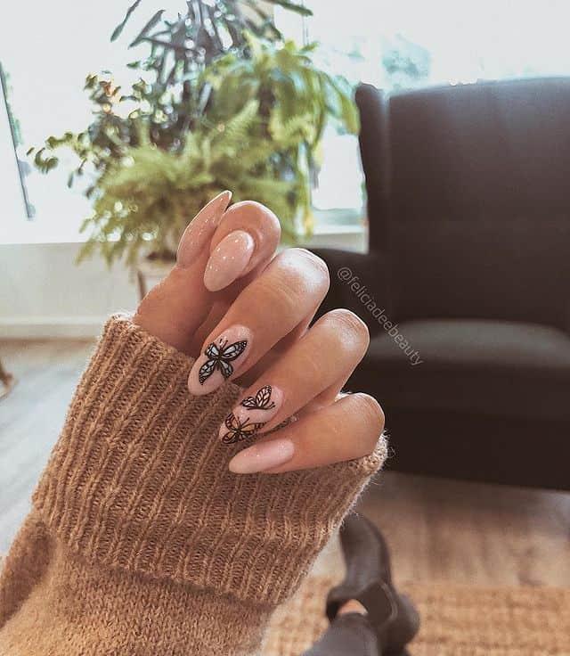 butterfly nails, butterfly nails acrylics, butterfly nails coffin, butterfly nail art, butterfly nail ideas, butterfly nail designs, neutral nails, rainbow butterfly nails, pink butterfly nails, pink nail art, summer nails