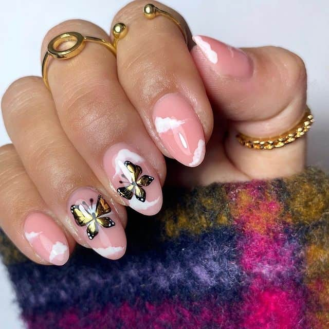 butterfly nails, butterfly nails acrylics, butterfly nails coffin, butterfly nail art, butterfly nail ideas, butterfly nail designs, neutral nails, rainbow butterfly nails, pink butterfly nails, pink nail art, summer nails, metallic nails, cloud nails