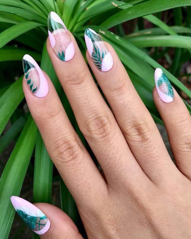 vacation nails, vacation nails acrylic, vacation nails simple, vacation nails 2021, beach nails, beachy nails, beach nails vacation, beach nail designs, palm print nails, palm nails, pink nails