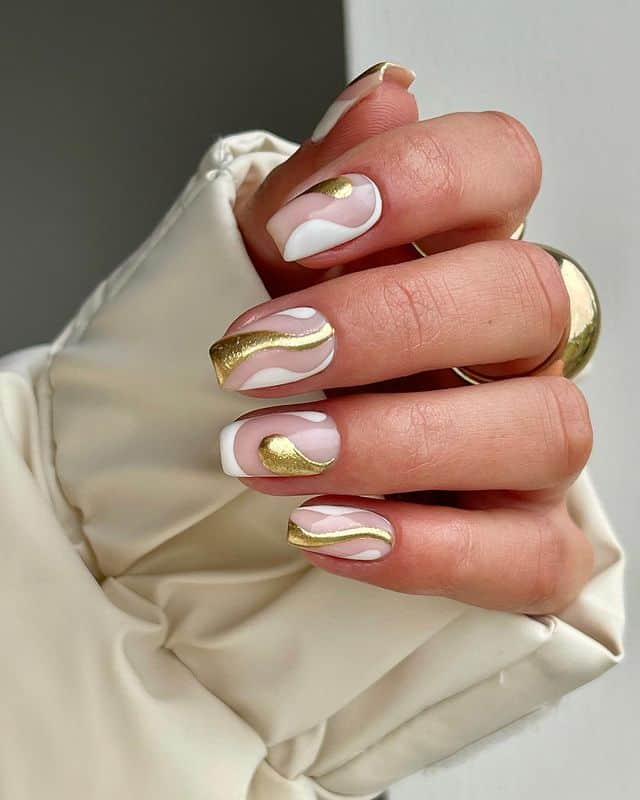 vacation nails, vacation nails acrylic, vacation nails simple, vacation nails 2021, beach nails, beachy nails, beach nails vacation, beach nail designs, gold nails, swirl nails