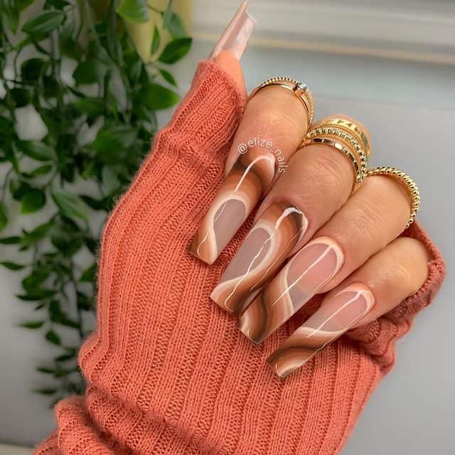 swirl nails, swirl nails acrylic, swirl nails 2021, swirl nails designs, swirl nails coffin, swirl nail art, swirl nail ideas, easy swirl nails, summer nails, summer nail art, brown swirl nails