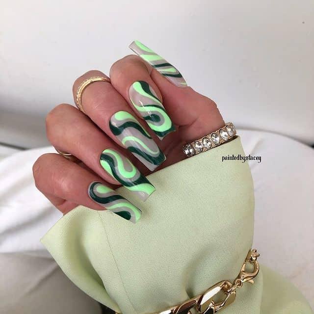 swirl nails, swirl nails acrylic, swirl nails 2021, swirl nails designs, swirl nails coffin, swirl nail art, swirl nail ideas, easy swirl nails, summer nails, summer nail art , green swirl nails