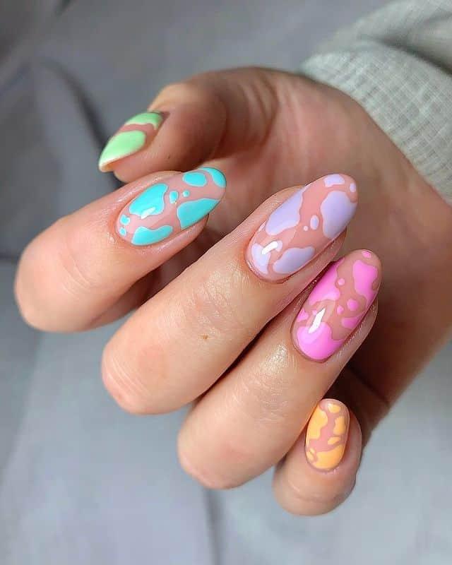 rainbow nails, rainbow nail art, rainbow nails acrylic, rainbow nails design, rainbow nail art designs, rainbow nail tips, cow print nails