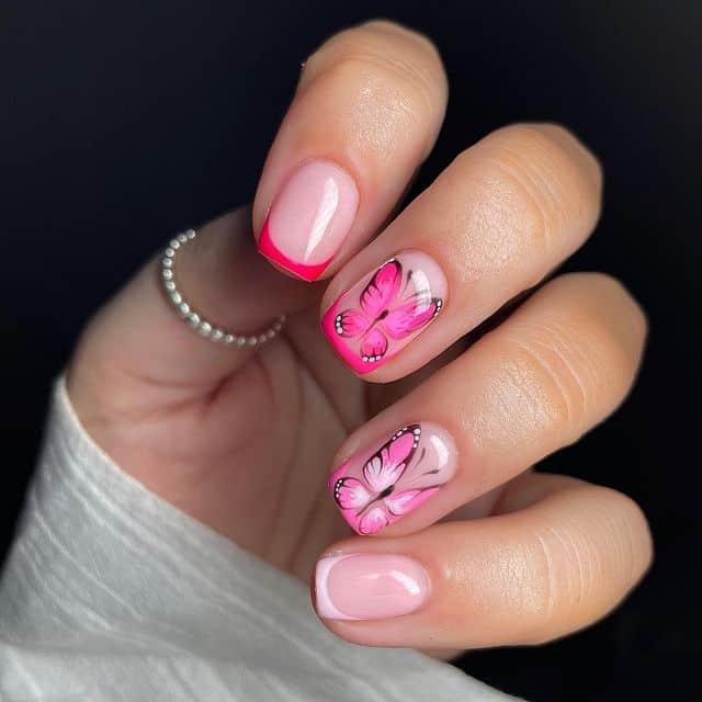 butterfly nails, butterfly nails acrylics, butterfly nails coffin, butterfly nail art, butterfly nail ideas, butterfly nail designs, neutral nails, rainbow butterfly nails, pink butterfly nails, pink nail art, summer nails, pink nails, pink butterfly nails