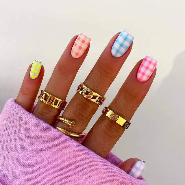 rainbow nails, rainbow nail art, rainbow nails acrylic, rainbow nails design, rainbow nail art designs, rainbow nail tips, gingham nails