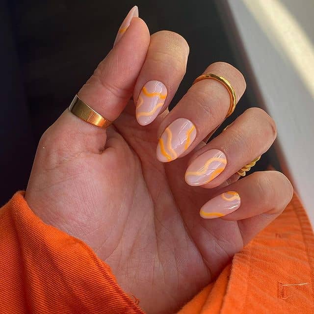 swirl nails, swirl nails acrylic, swirl nails 2021, swirl nails designs, swirl nails coffin, swirl nail art, swirl nail ideas, easy swirl nails, summer nails, summer nail art , orange swirl nails