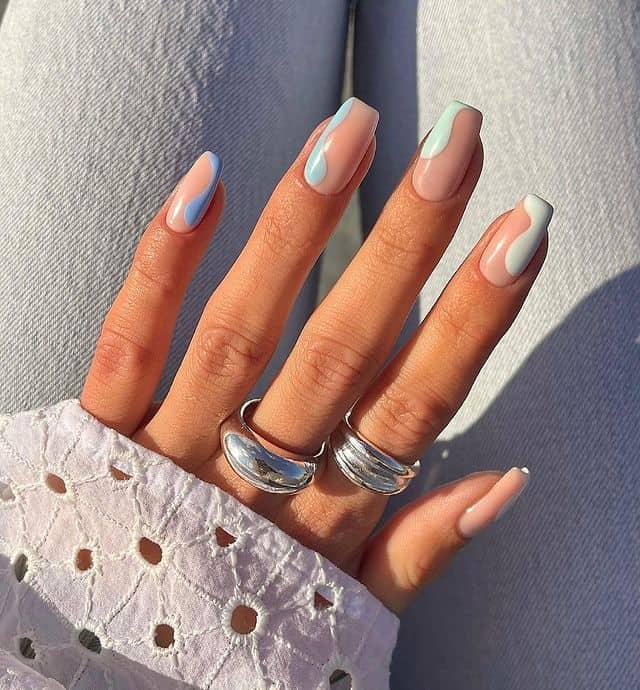 swirl nails, swirl nails acrylic, swirl nails 2021, swirl nails designs, swirl nails coffin, swirl nail art, swirl nail ideas, easy swirl nails, summer nails, summer nail art, blue swirl nails