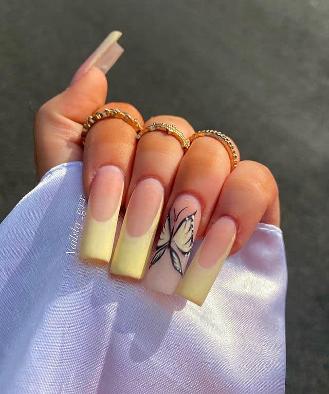 butterfly nails, butterfly nails acrylics, butterfly nails coffin, butterfly nail art, butterfly nail ideas, butterfly nail designs, neutral nails, rainbow butterfly nails, pink butterfly nails, pink nail art, summer nails, yellow nails, yellow nail art
