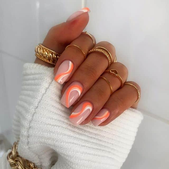 vacation nails, vacation nails acrylic, vacation nails simple, vacation nails 2021, beach nails, beachy nails, beach nails vacation, beach nail designs, swirl nails, orange nails, summer nails