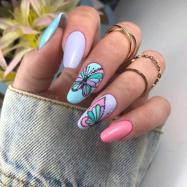 butterfly nails, butterfly nails acrylics, butterfly nails coffin, butterfly nail art, butterfly nail ideas, butterfly nail designs, neutral nails, rainbow butterfly nails, pink butterfly nails, pink nail art, summer nails, pastel nails, pastel nail art